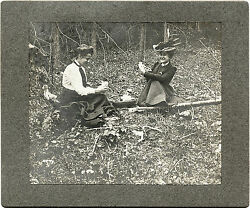 Two Smiling Victorian Ladies Playing Cards In The Woods And Original Antique Photo