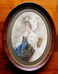 Antique Profile Pastel Portrait Of A Young Lady In Lace Bonnet And Framed Signed