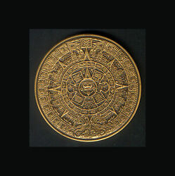 1978 Heavy Bronze Calendar Medal Unc Aztec Depictions With Info Sheet And C O A
