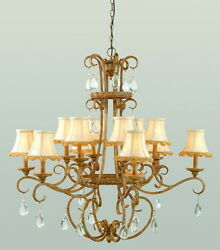 Antique Gold 12 Light Chandelier With Crytsal And Shades