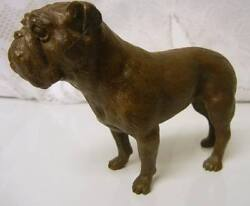 Vintage Solid Bronze BULL DOG Figurine Signed Limited Ed 10100 Statue Bulldog