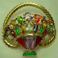 14 KT Y GOLD BROOCH OR PENDANT ~ BASKET OF FLOWERS ~ SET WITH COLORED STONES