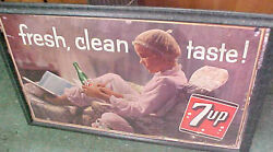 Vintage Rare Little Girl Teddy Bear 7up 7 Up Bottle Sign Ad Paper Board 1958 See