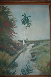 Old Rare Painting Palm Trees Tropical Canal Hand Signed Over 100 Yrs Old Island
