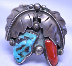 Vtg Mens David Kayo Sterling Silver Southwestern Turquoise Coral Ring Size 10.5