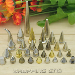 Rubyca Silver Metal Studs Spikes Rivets W/ Screws Leathercraft Findings Supplies