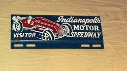 Indianapolis 500 Speedway Souvenir License Plate Topper Sign W/ Race Car 1950and039s
