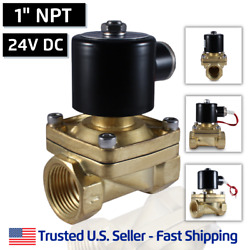 1 24v Dc Electric Brass Solenoid Valve Water Gas Air 24 Vdc - Free Shipping