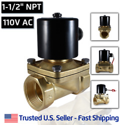 1-1/2 110 Volts Ac Electric Brass Solenoid Valve Water Air 110 120 Vac