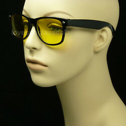 Night driving glasses men women sunglasses vision yellow lens vintage hd frame $6.99