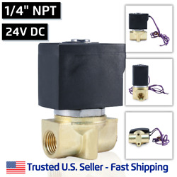 1/4 24v Dc Electric Brass Solenoid Valve Water Air 24 Volt Vdc - Free Shipping