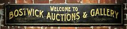 Custom Welcome To Auction And Gallery Wood Sign - Rustic Hand Made Vintage Wooden