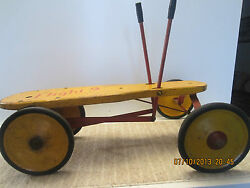 Antique Hand Operated Two Pump 4 Wheel Cart