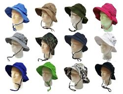 WIDE BRIM FISHING BUCKET BOONIE SAFARI HAT CAP 100% COTTON $14.99