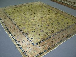 Antique Larestan India Rug Carpet Hand Knotted 8and0391 X 9and0399 Wool Yellow - Gold