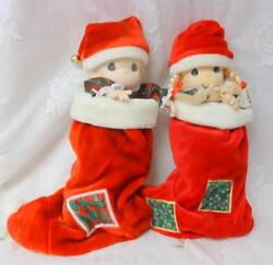 Vintage Christmas Eve Precious Moments Boy And Girl In The Stockings New With Tag
