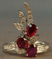 Retro 18k White Gold 1.50 Cttw Ruby And .42 Cttw Diamond Cascading Waterfall Ring