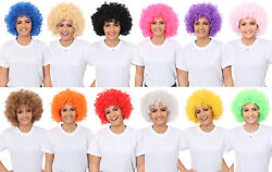 Afro Wig Fancy Dress Curly Mens Ladies Clown Hair 70s Disco Supporter Lot