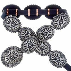 Native American Old Style Hand Stamped Silver Concho Belt By Navajo Tom Ahasteen