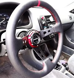 Vms 96-00 Honda Civic Red Steering Wheel And Black Hub Quick Release Combo 350mm