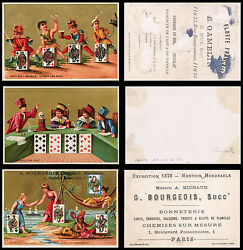 Set Of Three Victorian Original Antique Litho Playing And Trading Cards