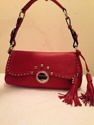 ELEGANT RED FAUX LEATHER TASSEL FLAP CLIP HOBO CLUTCH SHOULDER HAND BAG PURSE NW $59.99