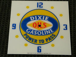 New 15 Dixie Gasoline Gas Oil Square Glass Clock Face For Pam