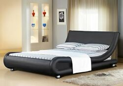 Italian Designer Faux Leather Double Or King -black White Chocolate Bed Frame