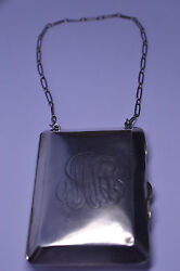 Antique Heavy 140 Grams Sterling Silver Purse Built-in Coin Holder And 13 Chain
