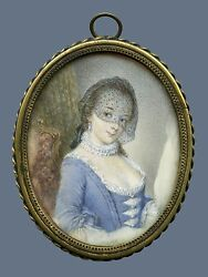 18c Rococo Miniature Portrait Beautiful Young Lady With Veil Ornate Brass Frame
