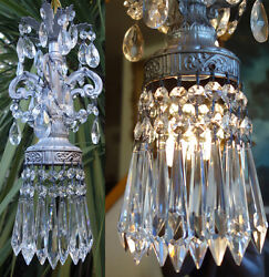 1 Vintage Swag Spelter Silver Lamp Crystal Prisms Chandelier Rococo Hollywood