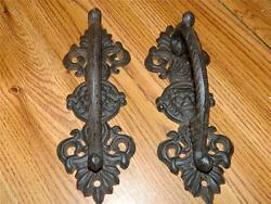 Set Of 2 Ornate Wrought Iron Lions Head Door Gate Entry Pull Handles 9 1/4