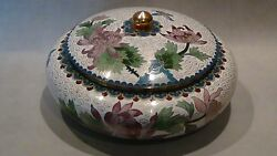 Antique Early 20c Chinese Low Profile Bowl W/lid White Ground W/chrysanthemums