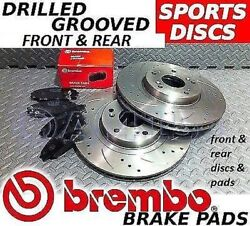 Fits Subaru Impreza P1 98-00 Front Rear Drilled Grooved Brake Discs Brembo Pads