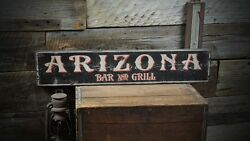Personalized State Bar And Grill Wood Sign - Rustic Hand Made Wooden