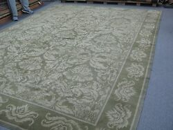 Fine Hand Knotted Wool And Silk Pile Green Tibetan Nepalese Rug 10' X 13'4 Damask