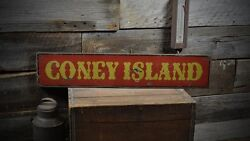 Coney Island Distressed Sign - Rustic Hand Made Vintage Wooden