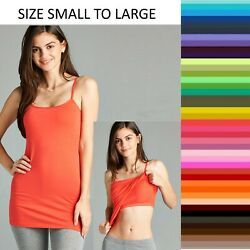 Long Cami With Built in Shelf Bra Adjustable Strap Women Layering Basic Tank Top $9.95