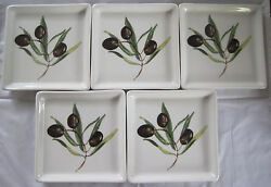 Crate And Barrel Porcelain Olive Hors Dand039oeuvre Tidbit Snack Tray - Set Of 5