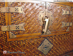 Asian Antique Chest Year 1850 Decorative Overlay Woven Rattan Solid Brass Lock