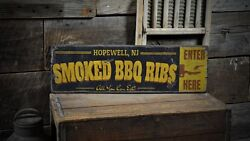 Custom City Smoked Bbq Ribs Sign - Rustic Hand Made Vintage Wood Sign
