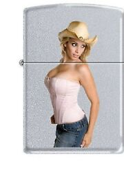 Cowgirl With A Hat 1  Pinup Girl Satin Chrome Zippo Lighter Hot Hot