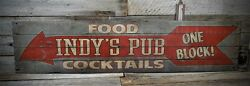 Custom Food And Cocktails Pub Sign - Rustic Hand Made Vintage Wood Sign