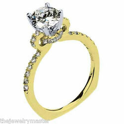 WOMENS DIAMOND ENGAGEMENT RING BRILLIANT ROUND CUT 1.36 CARAT 18KT YELLOW GOLD