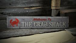 Custom Welcome To Crab Shack Sign - Rustic Hand Made Vintage Wooden