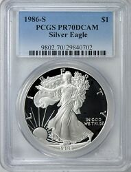 1986-s First Year Issue Proof 70 San Francisco Mint Silver Eagle Pcgs Pr70 Dcam