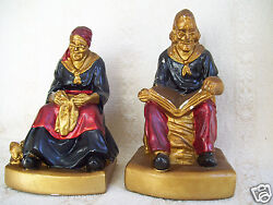 Antique Old Heavy 2 Lot Male Reading Bible Lady Knitting Dog And Cat 8 Figurine