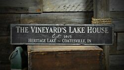 Custom Family Lake House Sign - Rustic Hand Made Vintage Wooden