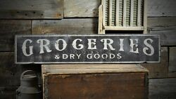 Groceries And Dry Good Distressed Sign -rustic Hand Made Vintage Wooden