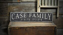 Custom Family Lat / Long Sign - Rustic Hand Made Vintage Wooden